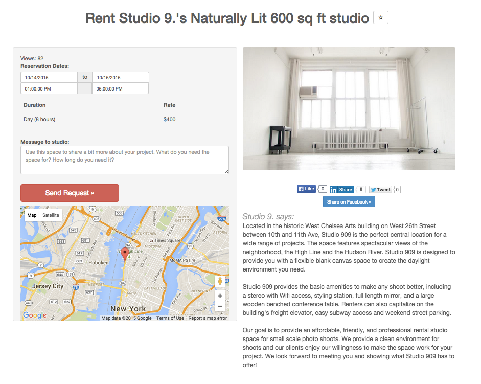 A closer look at a CameraLends studio rental page.