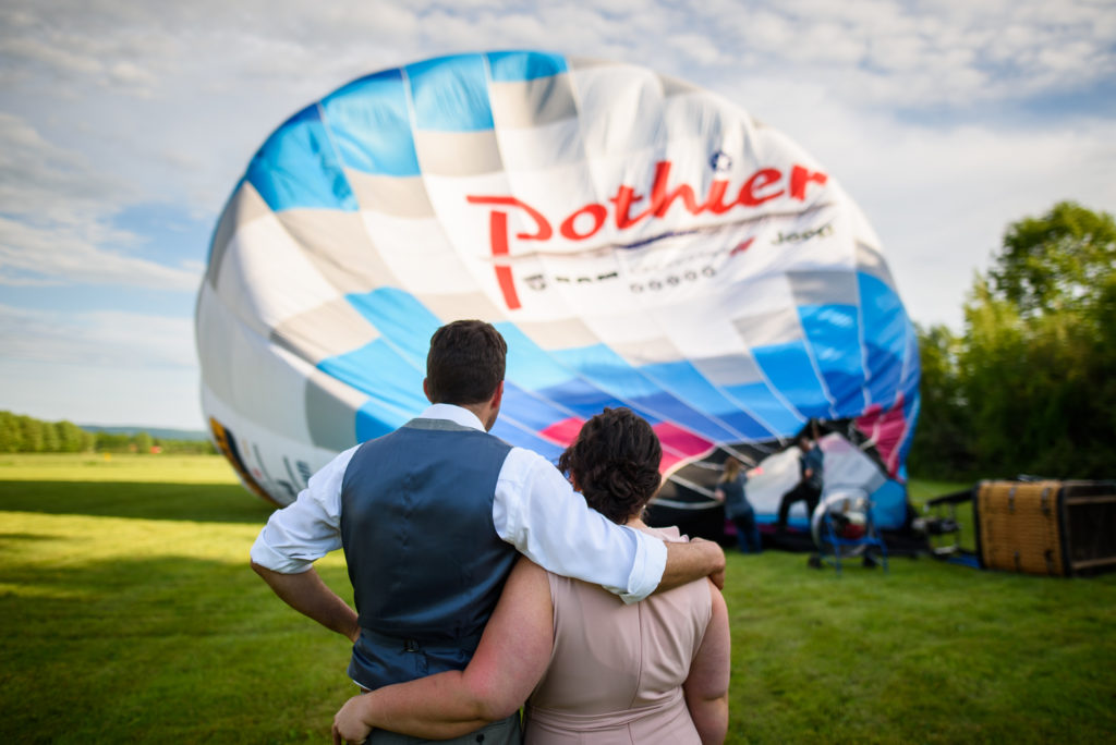 Veronica and Garett ready to elope in hot air balloon for wedding.