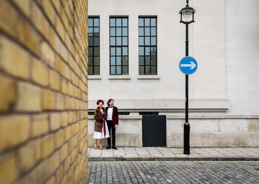 photograph shapes in city for wedding photos with couples