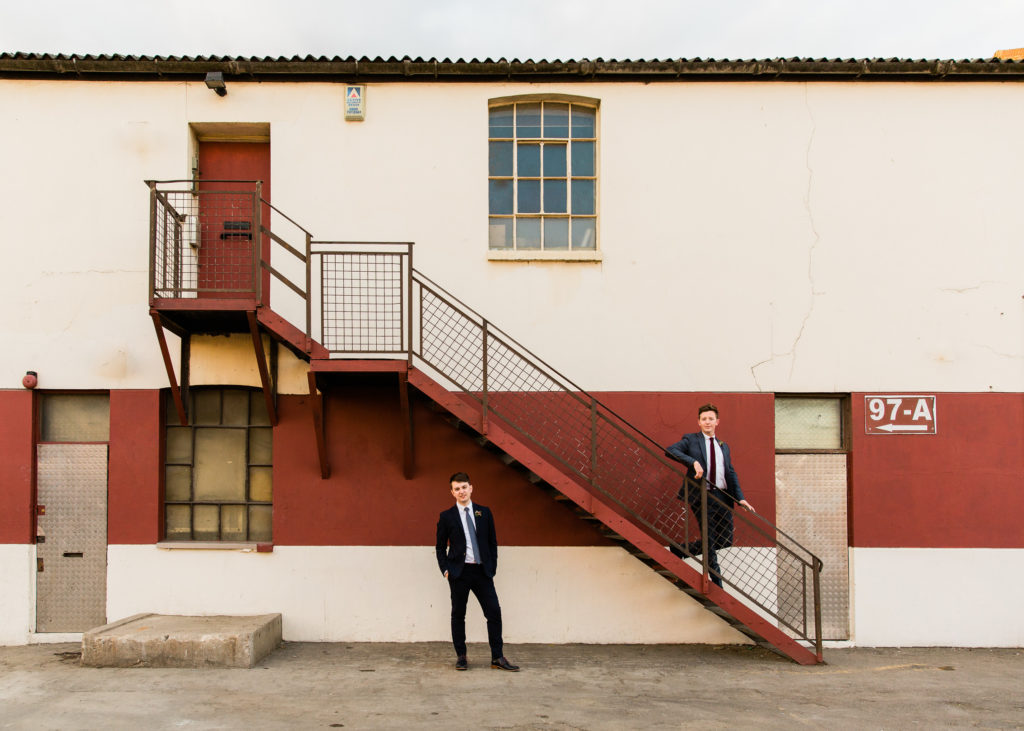 wedding couples can pose themselves in urban settings with stairwell