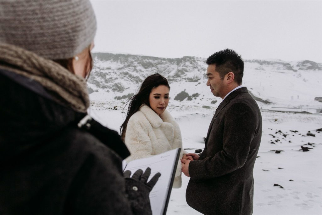A couple's Icelandic elopement had weather challenges