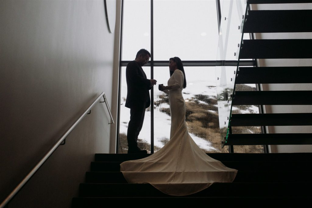 Moe backup plans—the hotel served as a warm, dry place to continue the couple's ceremony.