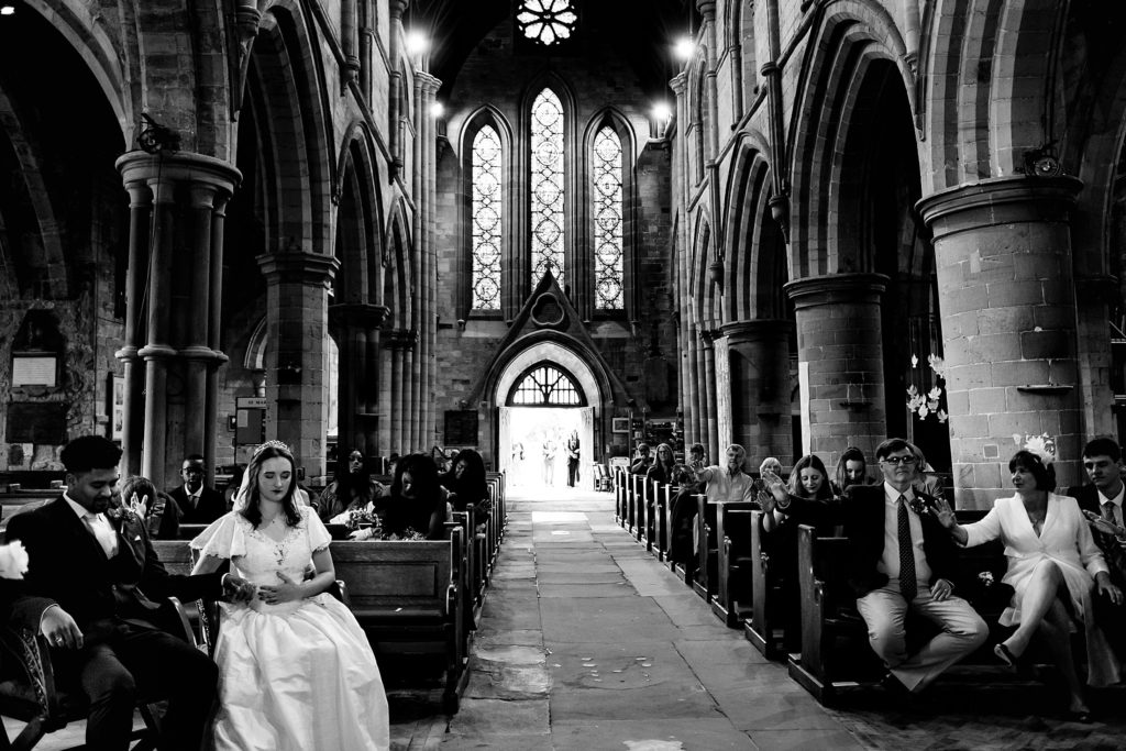 Beth and Andrew married at St Mary's Church with safe photo coverage in mind.