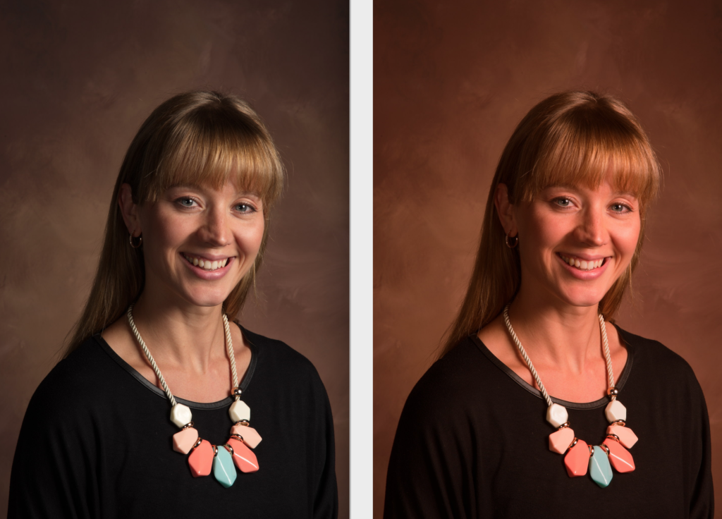 Before and after portraits of a woman that show the function of the Tone Wheels in ACDSee Photo Studio Ultimate 2021.