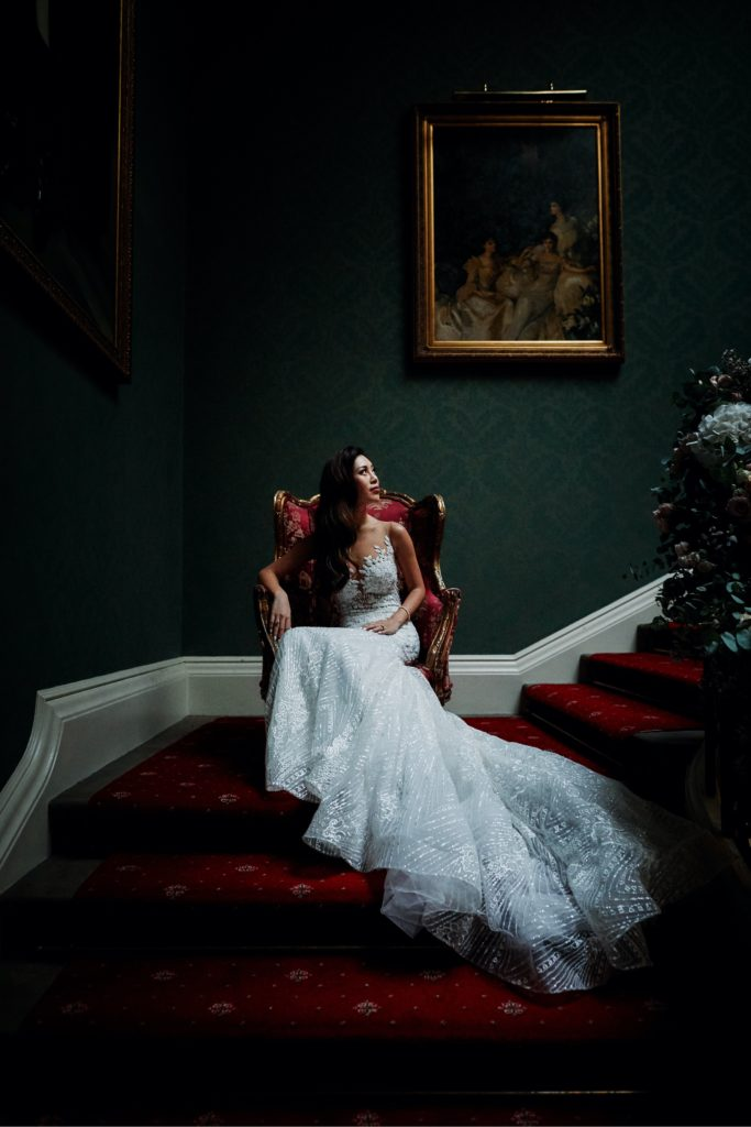 timeless portrait of bride with studio lighting inside Addington Palace.