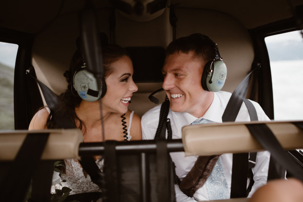 eloping couple flies in helicopter in all-day elopement package by adventure instead