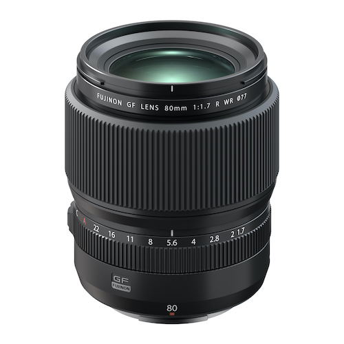 new photo lens releases from Fujifilm's Fuji include the GF80mm f/1.7 R WR lens.